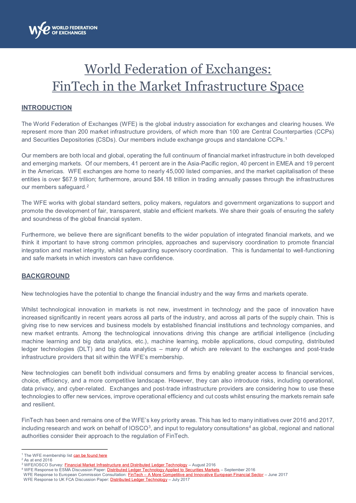 WFE FinTech in the Market Infrastructure Space | The World